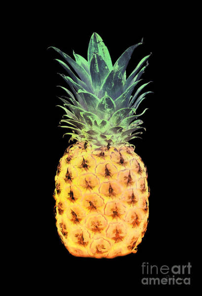 Painting - 14r Artistic Glowing Pineapple Digital Art Yellow And Green by Ricardos Creations