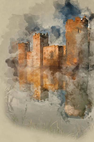 Bodiam Photograph - 14th Century Bodiam Castle In Robertsbridge, East Sussex During  by Matthew Gibson