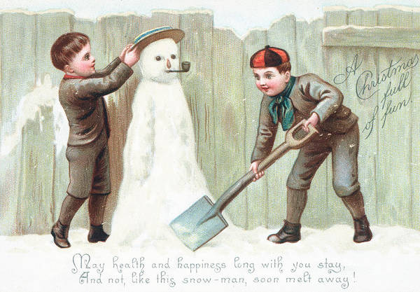 Spade Painting - Christmas Card by English School