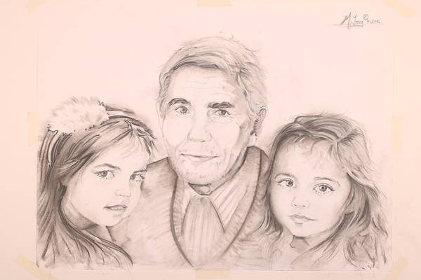 Drawing - Grandpa And Two Granddaughters by Gary M Long