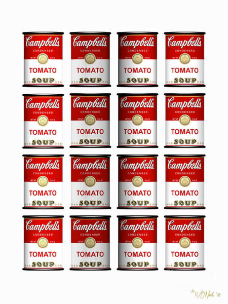 Digital Art - 16 Cans Of Tomato Soup by Walter Neal