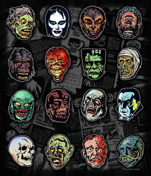 Famous Monsters Digital Art - 16 Horror Movie Monsters Vintage Style Classic Horror Movies  by Scott Jackson