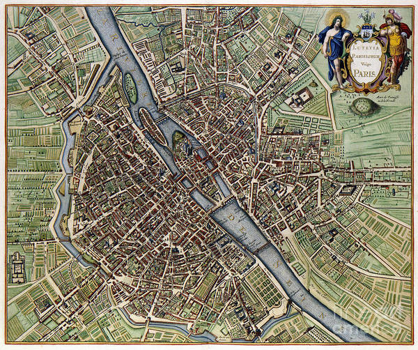 Wall Art - Photograph - 1657 Plan Of Paris by Jon Neidert