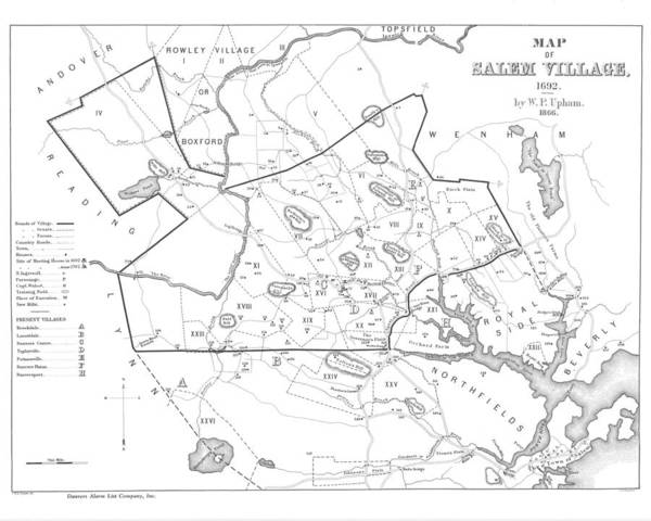 Digital Art - 1692 Historical Map Of Salem Massachusetts Pulished In 1866 1800s Map Black And White by Toby McGuire