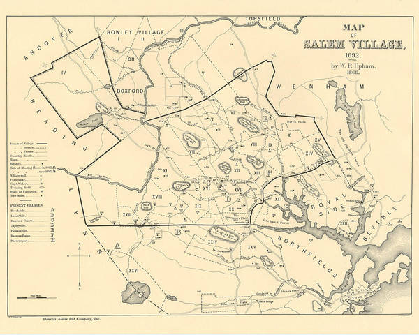 Digital Art - 1692 Historical Map Of Salem Massachusetts Pulished In 1866 1800s Map by Toby McGuire