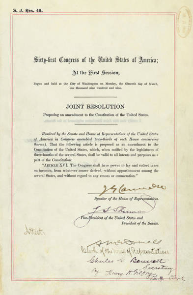 1910s Wall Art - Photograph - 16th Amendment To The U.s. Constitution by Everett