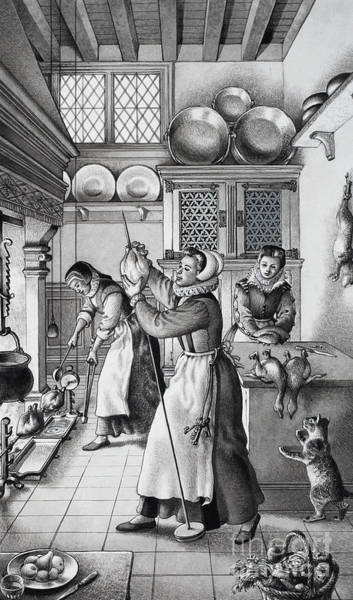 Preparation Painting - 16th Century Kitchen by Pat Nicolle