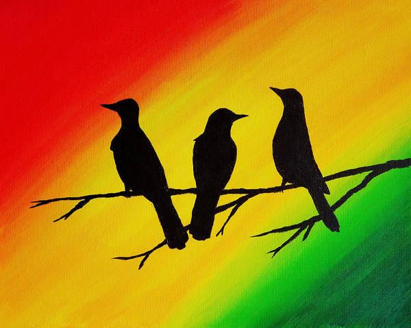 Rasta Painting - 16x20 Three Little Birds by Michelle Eshleman