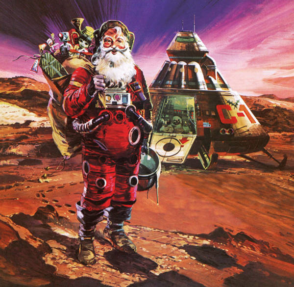 Spaceman Wall Art - Painting - Christmas Card by English School