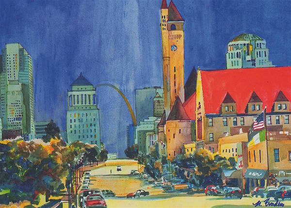 St Louis Arch Painting - 17 Market Street by Marilynne Bradley