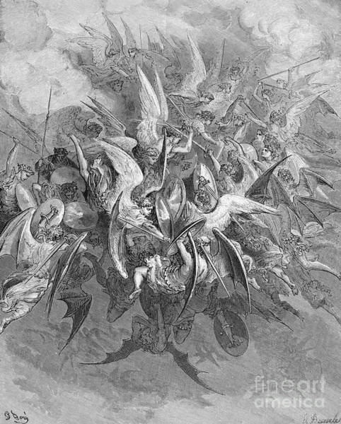 Attack Drawing - Paradise Lost by Gustave Dore