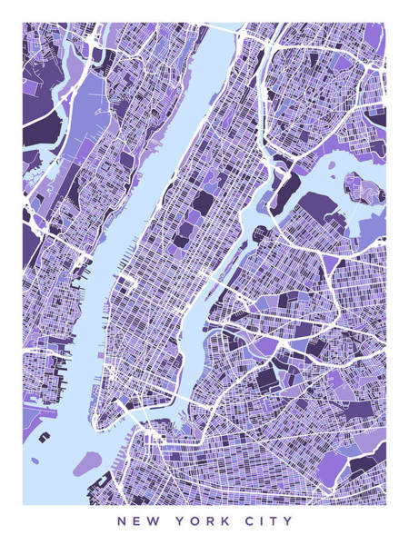 York Digital Art - New York City Street Map by Michael Tompsett