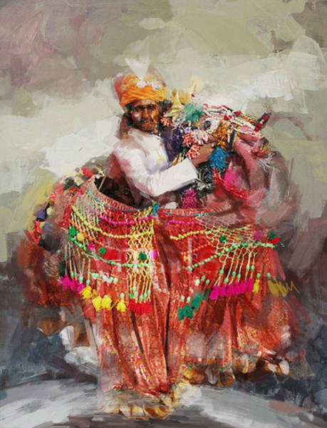 Ajrak Painting - 17 Pakistan Folk Punjab B by Mahnoor Shah