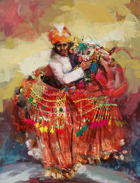 Ajrak Painting - 17 Pakistan Folk Punjab by Mahnoor Shah