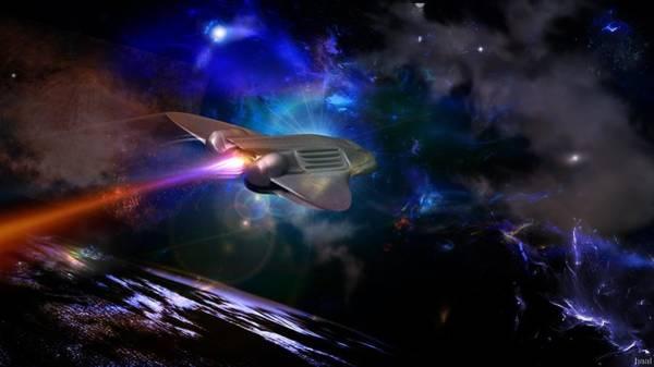 Night Digital Art - Spaceship by Super Lovely