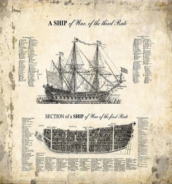 Wall Art - Digital Art - 1728 Illustrated British War Ship by Daniel Hagerman