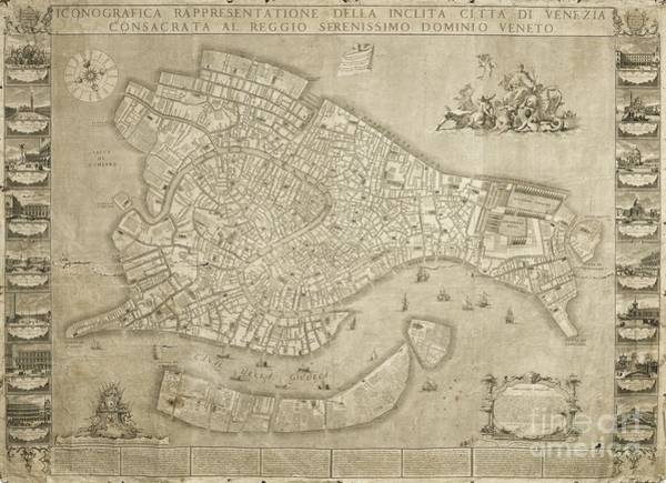 Painting - 1729 Map Of Venice by Celestial Images