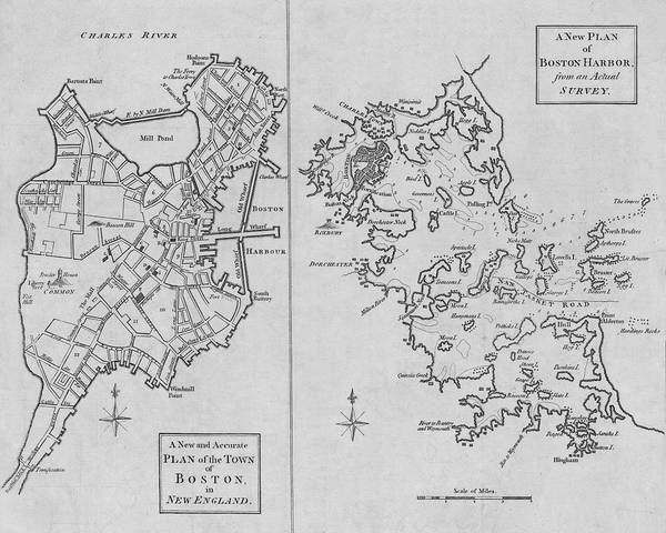 Digital Art - 1775 City Planner Map Of Boston And Boston Harbor Black And White by Toby McGuire