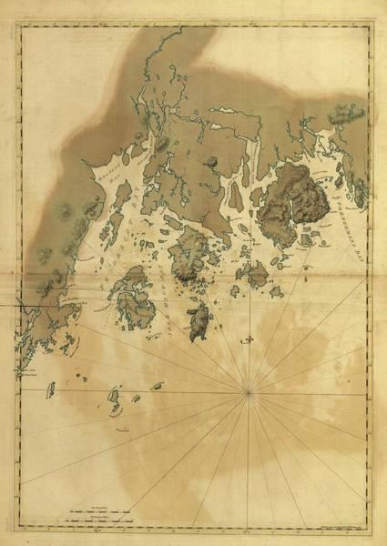 Atlantic Ocean Drawing - 1776 Maine Coast Map by Dan Sproul
