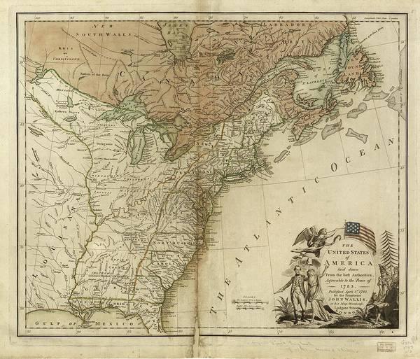 Atlantic Ocean Drawing - 1783 United States Of America Map by Dan Sproul