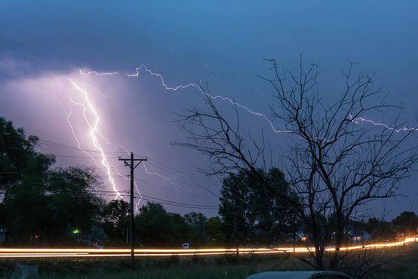 Photograph - 17th Street Car Lights And Lightning Strikes by James BO Insogna