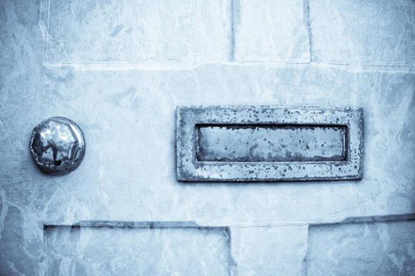 Mail Slot Photograph - Blue Door by Tom Gowanlock