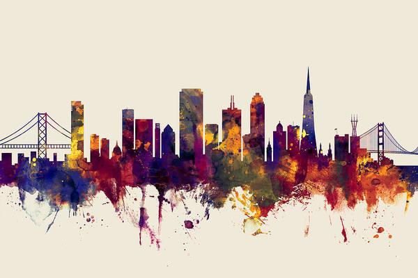 Wall Art - Digital Art - San Francisco City Skyline by Michael Tompsett