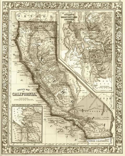 Digital Art - 1800s California Historical Map Sepia by Toby McGuire