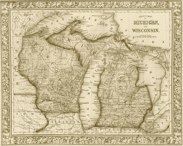 Digital Art - 1800s Historical Michigan And Wisconsin Map Sepia by Toby McGuire