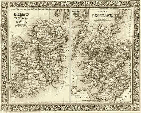 Digital Art - 1800s Ireland And Scotland County Map Sepia by Toby McGuire