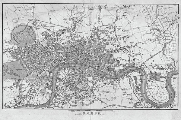 Digital Art - 1800s London Map Black And White London England by Toby McGuire