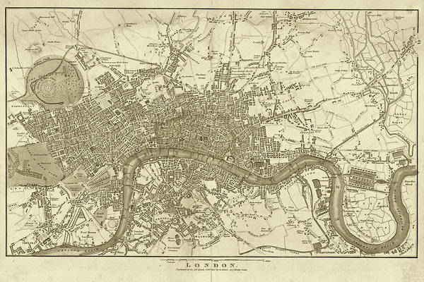 Digital Art - 1800s London Map Sepia London England by Toby McGuire