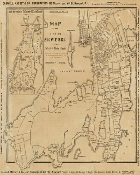 Digital Art - 1800s Vintage Map Of Newport Ri Rhode Island by Toby McGuire
