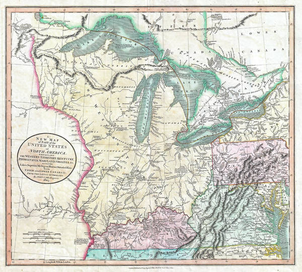 Great Lakes Region Wall Art - Photograph - 1855 Vintage Map Of The Great Lakes And The Western Territory by Stephen Stookey