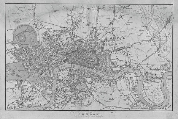 Digital Art - 1815 London Map Black And White by Toby McGuire