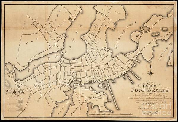 Drawing - 1820 Map Of Salem, Massachusetts by Lita Kelley