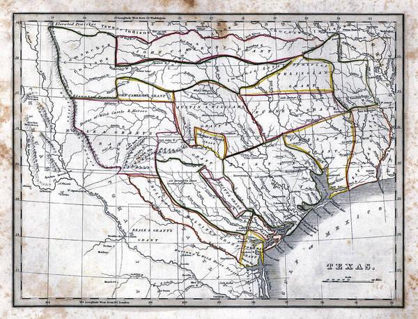 Wall Art - Photograph - 1835 Bradford Texas Map by Daniel Hagerman