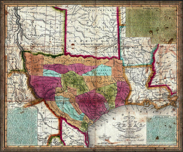 Wall Art - Photograph - 1836 Texas Territory Map by Daniel Hagerman