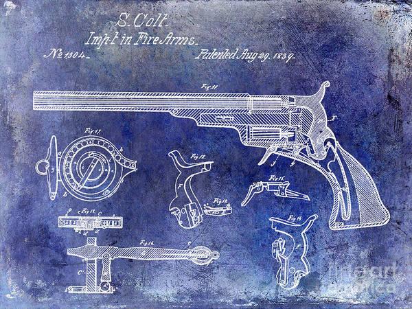Antique Firearms Wall Art - Photograph - 1839 Colt Firearms Patent Blue by Jon Neidert