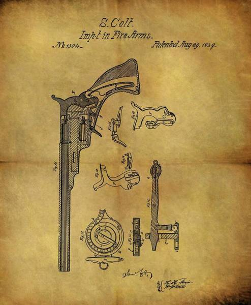Drawing - 1839 Samuel Colt Revolver Patent by Dan Sproul