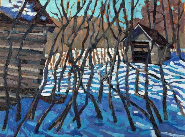 Barn Snow Painting - 1840 Farm by Phil Chadwick