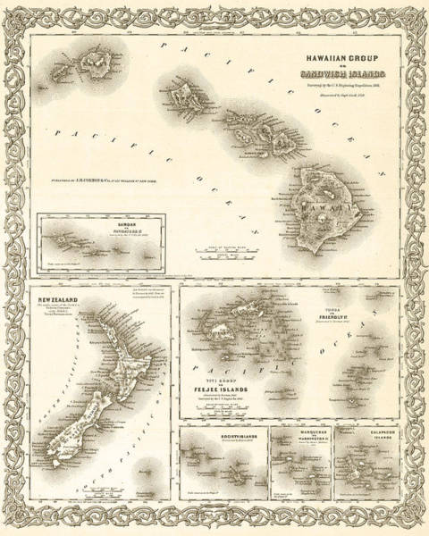 1841 Map Of The Hawaiian Islands Fiji Islands New Zealand 1800s Map Sepia Art Print