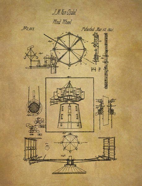 Blades Mixed Media - 1841 Wind Wheel Patent by Dan Sproul