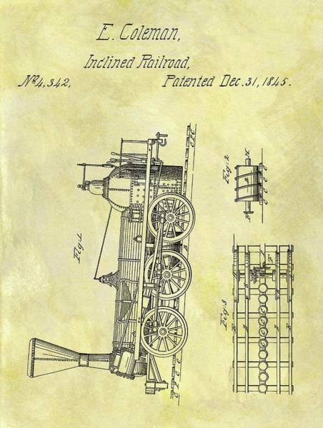 Locomotive Drawing - 1845 Locomotive Patent by Dan Sproul