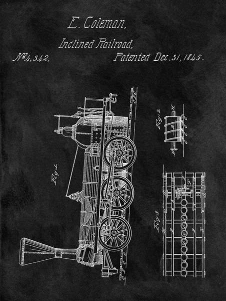 Locomotive Drawing - 1845 Railroad Patent by Dan Sproul