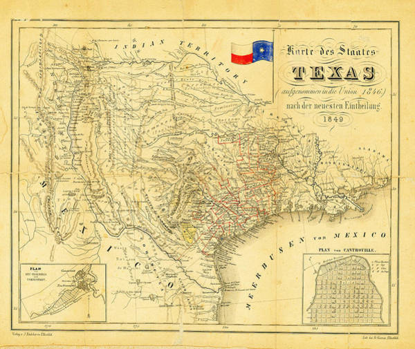 Photograph - 1849 Texas Map by Bill Cannon