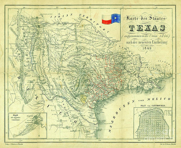 Wall Art - Photograph - 1849 Texas Map by Jon Neidert