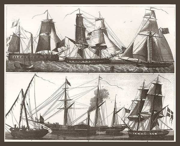 Painting - 1850 European Sailing Ship by Unknown