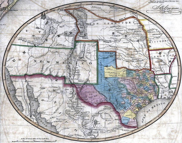 Wall Art - Photograph - 1851 Map Of Texas And Region by Daniel Hagerman
