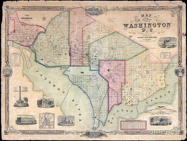 Wall Art - Photograph - 1851 Washington Dc Map by Jon Neidert